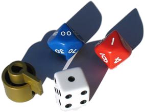 One game piece and three dice.